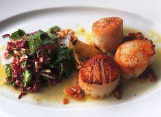 Seared Scallops and Radicchio Salad | Healthy Spa Recipes Spa Index www.thetraveldiet.com