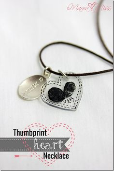 "A fun little keepsake to make with your littles for Valentines Day! ""Thumbprint Heart Necklace"" 