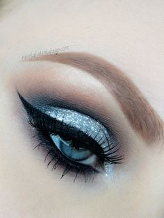 Silver #glitter #eye #eyes #makeup #eyeshadow #dramatic #smokey