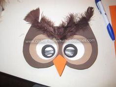 Homemade Owl Costume: My five year old wanted to be an owl but I can't sew. I managed to get this ensemble together with about $20 worth of felt, foam board, ribbon, craft feathers,