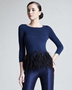 designer peplum tops with feathers | Feather-Peplum Top Carolina Herrera