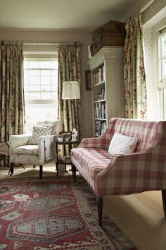 English Cottage sitting room - chintz curtains