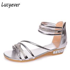 Lucyever Sexy Women Comfortable Low Heels Sandals Gold Silver Glitter Summer Shoes Woman Fashion Rhinestones Gladiator Sandals