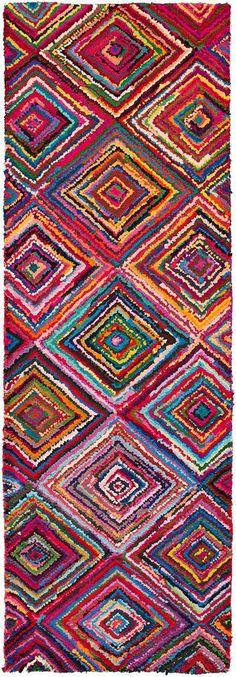 boho magentaaqua runner rug