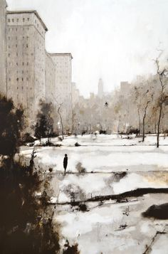 "Geoffrey Johnson, ""Park in Mid-Winter"" - 36x24, oil on panel--at Principle Gallery"