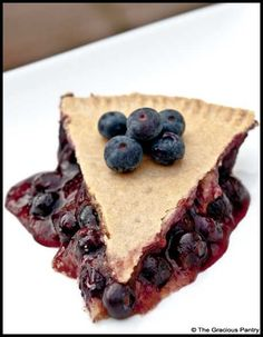 Clean Eating Blueberry Pie  www.TheGraciousPantry.com