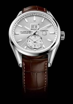 The TAG Heuer Carrera Calibre 8 Grande Date GMT resembles an earlier TAG Heuer watch, the Grand Carrera Calibre 8 RS, which contained the same base movement; the Grand Carrera included a module for the GMT function that used a rotating system (RS) rather than the more traditional subdial used here.