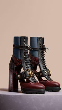 Leather and Snakeskin Cut-out Platform Boots Burgundy Red   Burberry