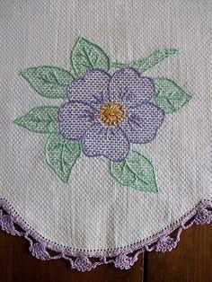 Vintage Hand Embroidered Runner Swedish Weaving 18x30 Purple Flowers | eBay