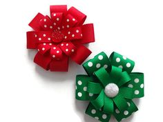 Christmas Bow Set Christmas Hair Accessories by marimaricollection