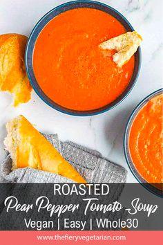 Roasted Red Pepper Soup with Pear (Vegan!) - The Fiery Vegetarian Vegan Stew, Vegan Roast, Spicy Vegetarian Recipes, Vegetarian Lunch, Stuffed Pepper Soup, Stuffed Peppers, Soup Recipes, Chili Recipes, Family Recipes