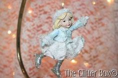 Kurt-Adler-Christmas-Ornaments-Little-Girl-Skating-Glitter-Silver-Blue