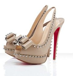 Christian Louboutin Lady Clou Calf Beige Spikes Slingback Shoes ? liked on  Polyvore featuring shoes, heels, christian louboutin, beige shoes, ...
