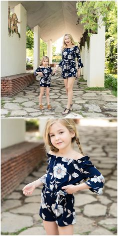 Vintage Floral Printed Long-sleeve V-neck Jumpsuit for Mom and Me Mother Daughter Matching Outfits, Mom Daughter, Matching Family Outfits, Mom And Baby Outfits, Baby Outfits Newborn, Girl Outfits, Mom And Me Photos, Jumpsuit For Kids, Pretty Kids