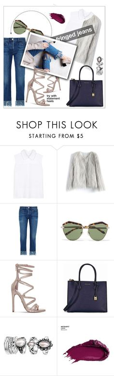 """""""fringed"""" by innalovesfashion ❤ liked on Polyvore featuring Victoria, Victoria Beckham, Chicwish, 3x1, Karen Walker, Carvela, Michael Kors, Urban Decay, outfit, Silver and stylish"""