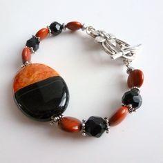 Geode Druzy Stone Jewelry /Red Black Stone Bracelet / Semi Precious Jewellery/Obsidian,Jasper,Gemstones by FunkyMaMaJewelry on Etsy