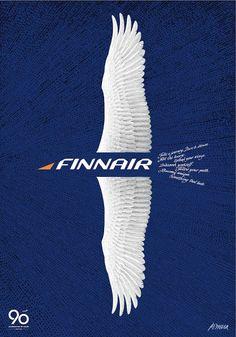 Erik Bruun poster to celebrate 90 years of Finnair. Vintage Advertisements, Vintage Ads, Vintage Airline, Vintage Advertising Posters, Retro Ads, Airline Travel, Air Travel, Lappland, Old Ads