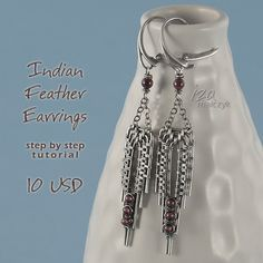 Indian Feather Earrings Step By Step Tutorial by Iza Malczyk - on Etsy $10.00