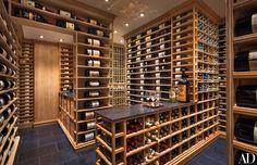 David Spon Wine Cellar Concepts created the wine storage/tasting area in this Manhattan duplex renovated by Sawyer Caves, Basement Bar Designs, Pantry Design, Wine Fridge, Tasting Room, Wine Tasting, Wine Storage, Best Interior Design, Architectural Digest