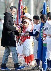 Ichiro Suzuki encourages young boys in his hometown Toyoyama-cho, Aichi, Japan イチロー