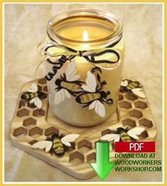 Bee themed candle tray.