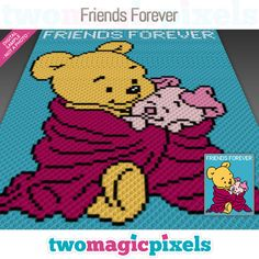 Friends Forever is a graph pattern that can be used to crochet a blanket using (Corner to Corner), TSS (Tunisian Simple Stitch) and other techniques. Graph Crochet, Pixel Crochet, Crochet Blanket Patterns, Baby Blanket Crochet, Crochet Baby, Knitting Patterns, Crochet Blankets, Free Crochet, Crochet Crafts