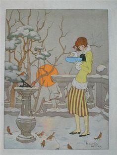 "Marjorie Miller, ""Feeding the WInter Birds,"" 1920s"