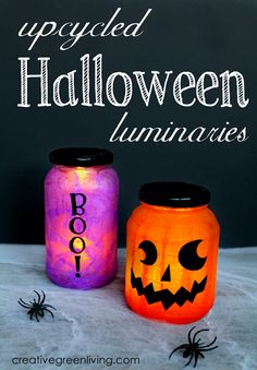 Creative Green Living: How to Make Upcycled Halloween Luminaries diy halloween recipes Diy Halloween, Halloween Mason Jars, Halloween Candles, Halloween Activities, Halloween Projects, Holidays Halloween, Vintage Halloween, Halloween Decorations, Halloween Stuff