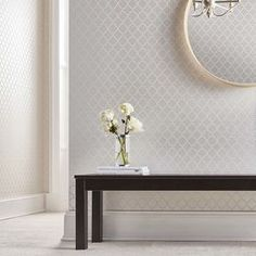 Trelliage Bead Pearl Wallpaper, , large