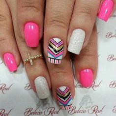Pink with White and Sliver Glitter and Tribal Nail Art Design