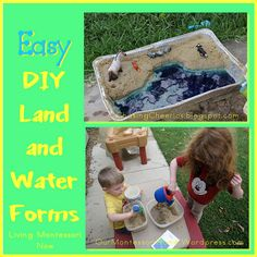 Summer DIY simple Montessori land and water forms - post includes links to other DIY land and water forms as well as printables and presentations