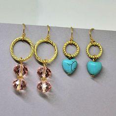 New! Ladylike Petite Dink Crystal & Magnesite Stone Drop Earring Set - $20