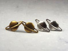 Planet Saturn Earrings, Stud Earrings, Surgical Steel Posts, Celestial Jewelry, Astronomy, Space, Sci-Fi, Brass or Silver Plated $12 via @shopseen