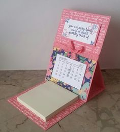 Stampin' Up! Demonstrator stampwithpeg – Craft fair make, Easel Desk Calendar and Note Pad : Affectionately Yours. This is a fab little project, I am making quite a few of these again this year the…