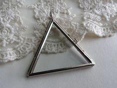 1 Glass Triangle Shape Locket Flat Glass Pane Shadow Box by BuyDiy