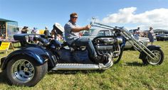 Dunedin mechanic Paul Barron on his custom-built V8 trike at Wings and Wheels at Taieri Airfield on Saturday. Description from odt.co.nz. I searched for this on bing.com/images