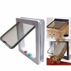 Since1994- Medium Large White cat Cat Puppy Dog Supplies Lock Frame Safe Security Flap Door Gate cat Supplies >> You can get additional details, click the image : Cat Doors, Steps, Nets and Perches
