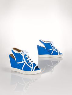 Leather-Trim Wedge Sneaker