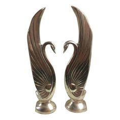 Image of Art Deco Influenced Brass Swan Sculptures - A Pair