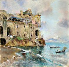 Giuseppe Casciaro (Ortelle, LE 1861 - Napoli 1941) Palazzo Donn'Anna pastelli su carta cm 34x34