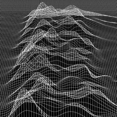 Detail from a 3D model of waveform artwork by Peter Saville, for Joy Division's Unknown Pleasures album