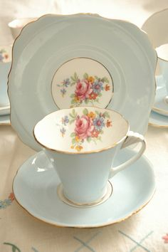 Pale blue floral art deco teacup trio by Royal by TuckshopChina, £16.99