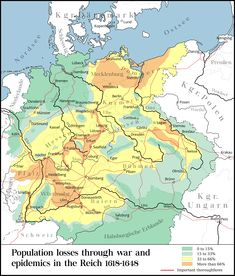 Population loss during the Thirty Years' War, fought primarily in Central Europe between 1618 and 1648 Vintage Maps, Antique Maps, European History, Ancient History, Strategy Map, Thirty Years' War, India Map, Visual Learning, Old Maps
