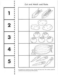 vegetable counting worksheet Kindergarten Addition Worksheets, Preschool Workbooks, Cut And Paste Worksheets, Printable Preschool Worksheets, Kindergarten Math Worksheets, Worksheets For Kids, Pre Kindergarten, Preschool Math, Matching Worksheets