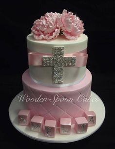 Baptism or communion cake Confirmation Cakes, Baptism Cakes, Baptism Party, Baptism Ideas, Baptism Favors, Comunion Cakes, Foto Pastel, Religious Cakes, First Communion Cakes