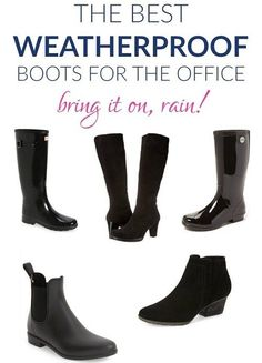 weatherproof-boots-to-wear-to-work If you're faced with bad weather on your commute, are YOU prepared? We round up some of the best, classic styles of waterproof, weatherproof boots to blend seamlessly with your office style. Casual Outfits For Work Office Wear, Rainy Day Outfit For Work, Winter Outfits For Work, Office Outfits, Work Casual, Office Shoes For Women, Office Attire, Mom Outfits, Business Outfits