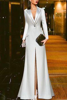 Trendy Dresses, Elegant Dresses, Sexy Dresses, Fashion Dresses, Prom Dresses, Beauty And Fashion, Woman Fashion, Evening Dresses Online, White Evening Gowns