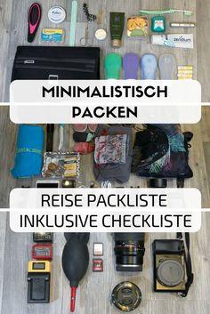 Du willst minimalistisch Reisen, dich aber nicht einschränken? Hier findest du meine Reise Packliste, die dein Gepäck nicht zu schwer werden lässt. #packliste #koffer #gepäck #packen #rucksack