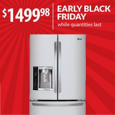 Refrigerator space will be a worry of the past once you upgrade to this LG French-door stainless steel refrigerator with ice & water dispenser. Don't wait for Nov. 29, enjoy Black Friday pricing -- and space for all your leftovers! -- right now at Warners' Stelllian. Model: LFX25974ST
