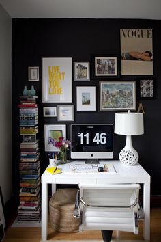 black and white office with yellow pops
